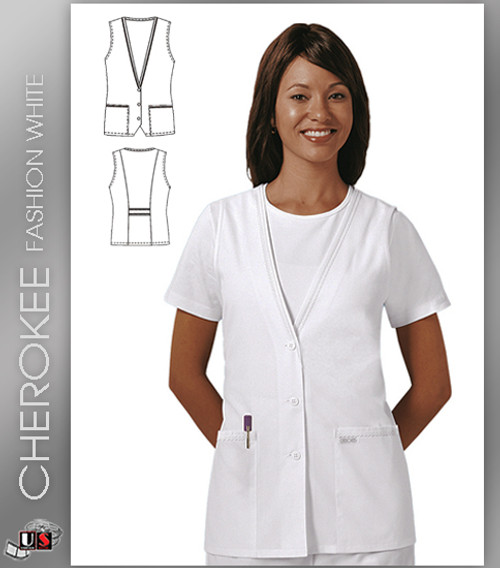 Cherokee Fashion Solid White Lace-Trimmed Vest