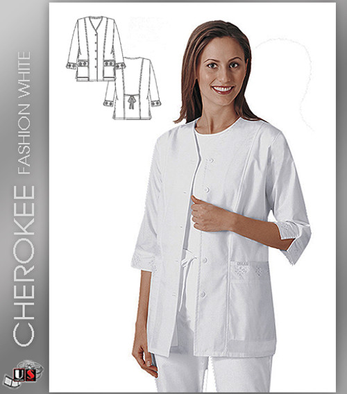 Cherokee Fashion Solid White Women's Eyelet Solid Scrub Jacket