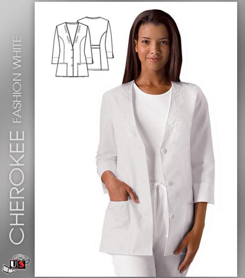 Cherokee Fashion Solid White Women's 3/4 Sleeve Solid Scrub Jacket