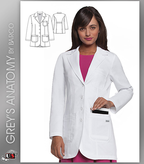 """Greys Anatomy Womens Plain 32"""" 3 Pocket Fitted Front Lab Coat"""