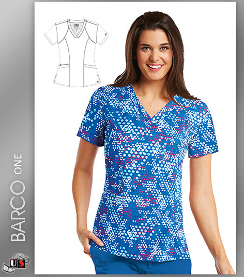 Barco One Hexagon Print V-Neck Scrub Top