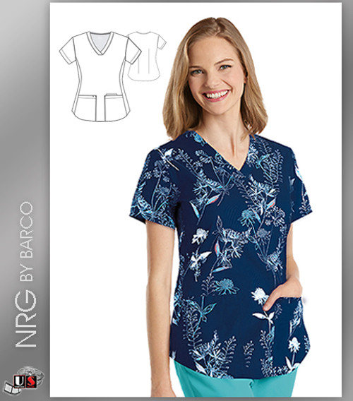 NRG By Barco Wildflowers 3 Pocket V-Neck Print Scrub Top