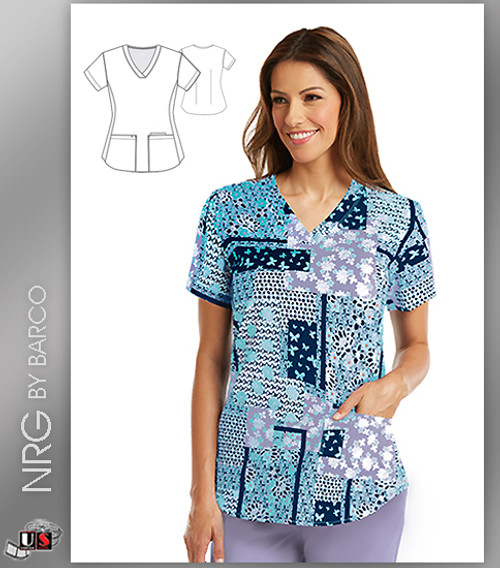 NRG By Barco Wishful 3 Pocket V-Neck Print Scrub Top