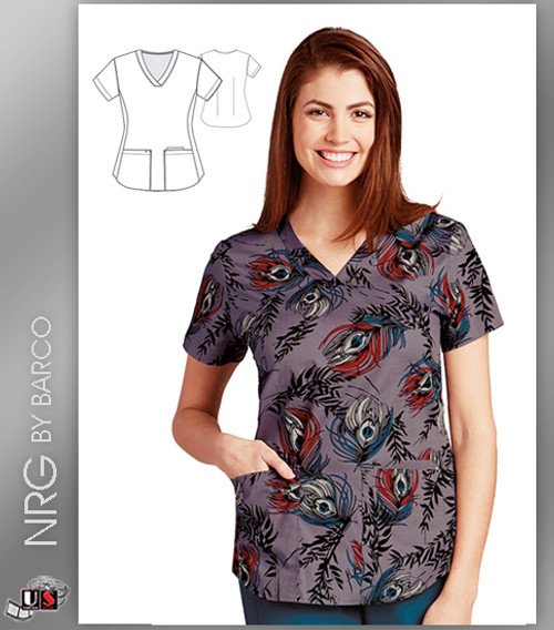 NRG By Barco  Peacock Feather 3 Pocket V-Neck Print Scrub Top