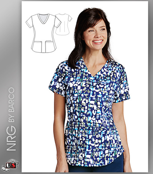 NRG By Barco  Animal Check 3 Pocket V-Neck Print Scrub Top