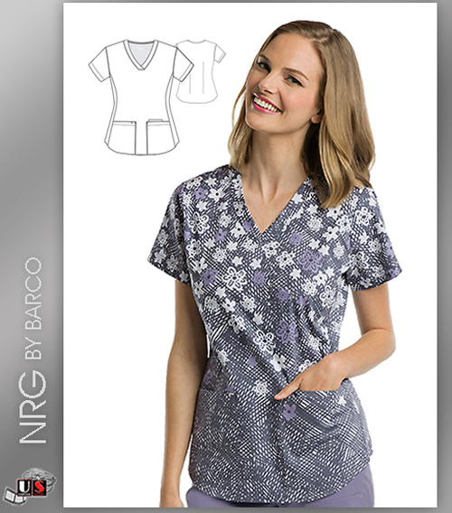 NRG By Barco Flower Burst 3 Pocket V-Neck Print Scrub Top
