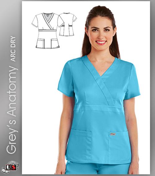 Grey's Anatomy Arc Dry 3 Pocket Mock Wrap Scrub Top