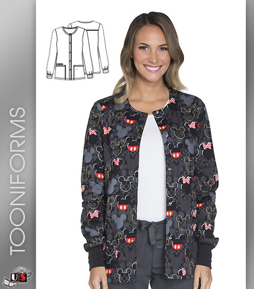 Cherokee Tooniforms Buttons and Bows Snap Front Warm-Up Jacket