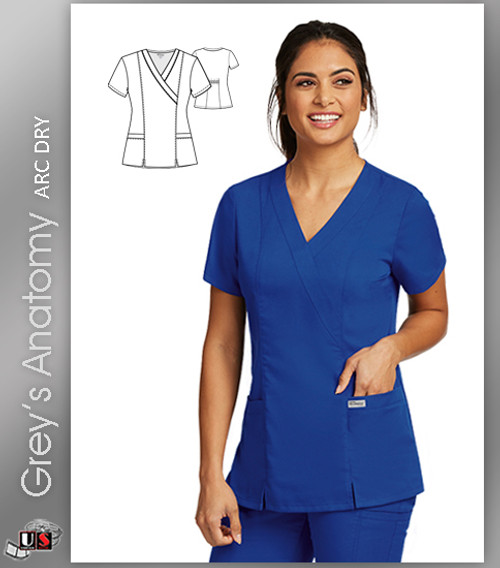 Grey's Anatomy™ Arc Dry 2 Pocket Contemporary Fit Mock Wrap Top