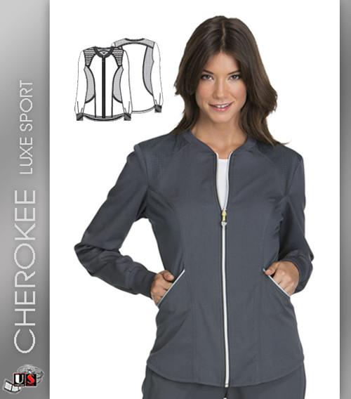 Cherokee Luxe Sport Zip Front Women's Crew Long Sleeve Warm-Up Jacket