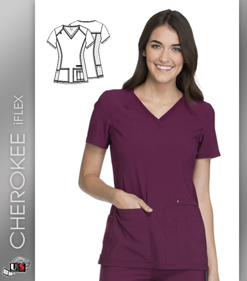 Cherokee iflex Women's V-Neck Knit Panel Short Sleeve Top -Solid Color