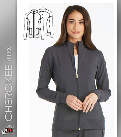 Cherokee iflex Women's Mandarin Collar Long Sleeve Warm Up Jacket