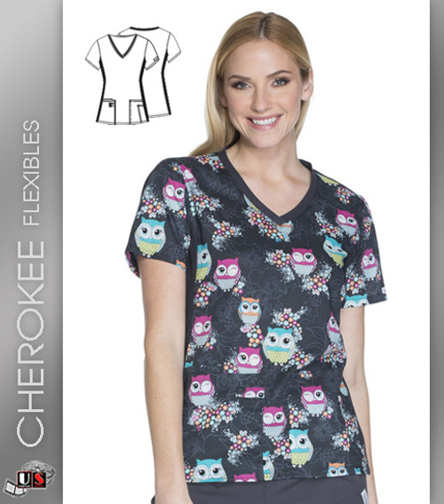 Cherokee Flexibles Too Cute To Hoot Women's V-Neck Knit Panel Top