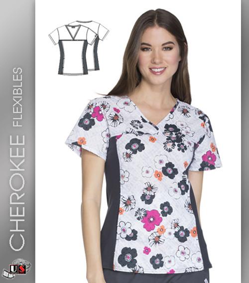 Cherokee Flexibles Fleur You I Will Women's V-Neck Short Sleeve Top