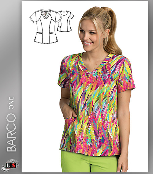 Barco One Feather Multi Print V-Neck Scrub Top