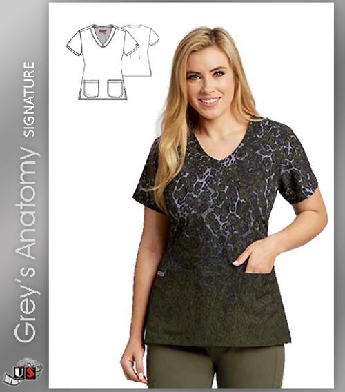Grey's Anatomy™ Signature Women's V-Neck Cheetah Dip Dye Print Scrub Top