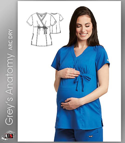 Grey's Anatomy Arc Dry 2 Pocket Mock Wrap Maternity Solids