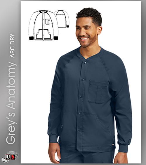 Grey's Anatomy™ Arc Dry Men's Snap Front Raglan Sleeve Scrub Jacket