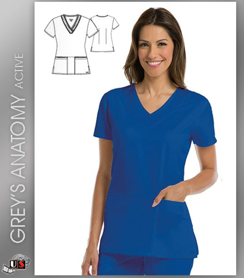 Greys Anatomy Active 3 Pocket V-Neck Scrub Top - RVT New Royal