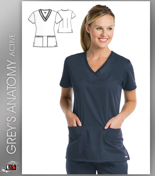 Greys Anatomy Active 3 Pocket V-Neck Scrub Top - SVT Steel