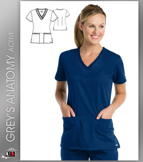 Greys Anatomy Active 3 Pocket V-Neck Scrub Top - IVT Indigo