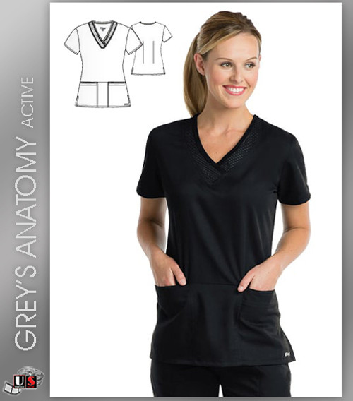 Greys Anatomy Active 3 Pocket V-Neck Scrub Top - BVT Black