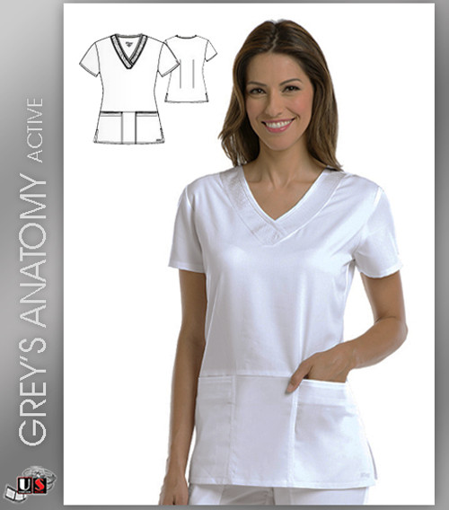 Greys Anatomy Active 3 Pocket V-Neck Scrub Top - WVT-White