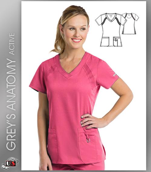 Greys Anatomy Active 3 Pocket Knitted Raglan V-Neck Top