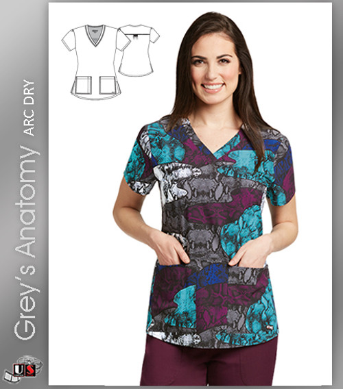 Grey's Anatomy™ Arc Dry Women's V-Neck Print Scrub Top -  Viper Patchwork