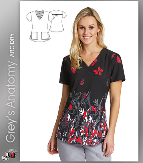 Grey's Anatomy™ Arc Dry Women's V-Neck Print Scrub Top -  Red Iris