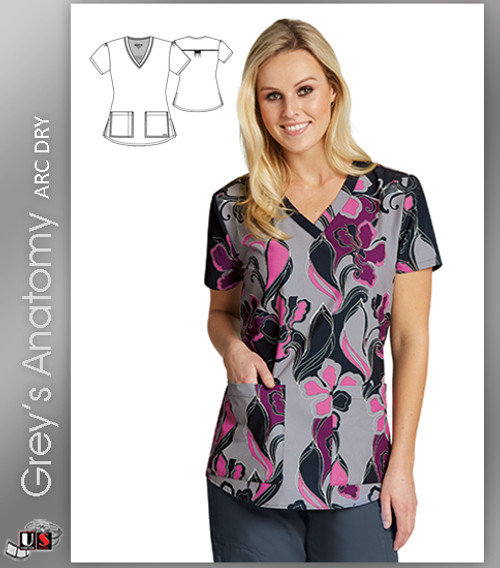 Grey's Anatomy™ Arc Dry Women's V-Neck Print Scrub Top -  Swirly Floral