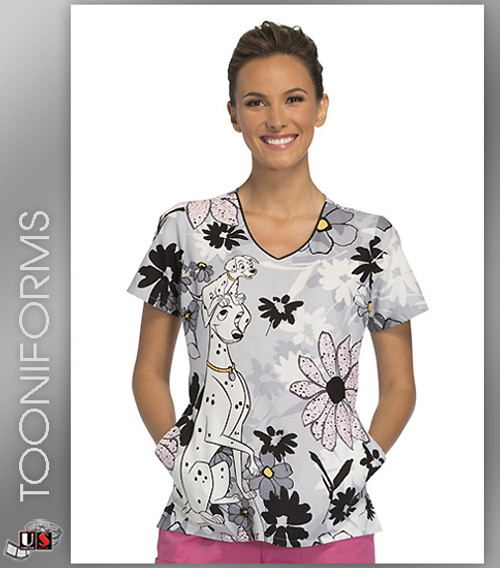 Cherokee Tooniforms  A Stroll In The Park Women's V-Neck Short Sleeve Top