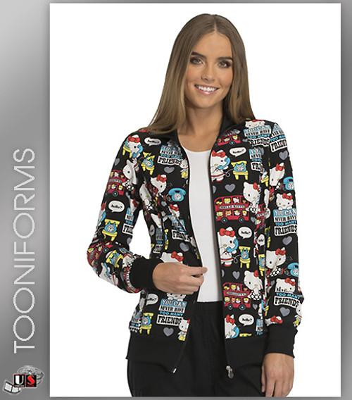 Cherokee Tooniforms Hello Friends Women's Zip Front Warm-Up Jacket