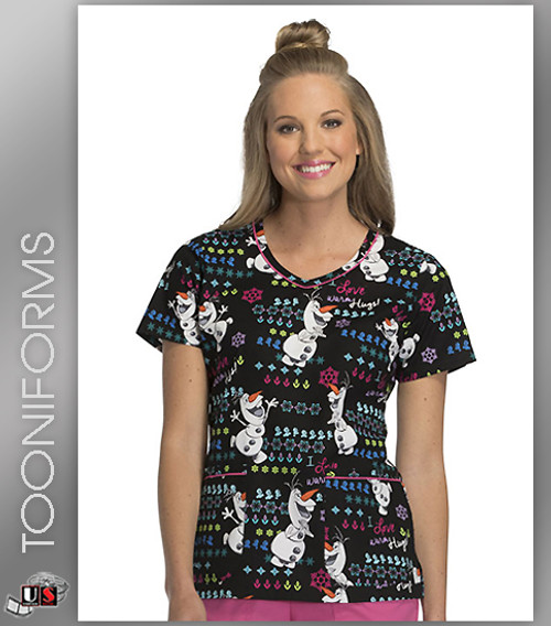 Cherokee Tooniforms Warm And Fuzzy Olaf Women's V-Neck Short Sleeve Top