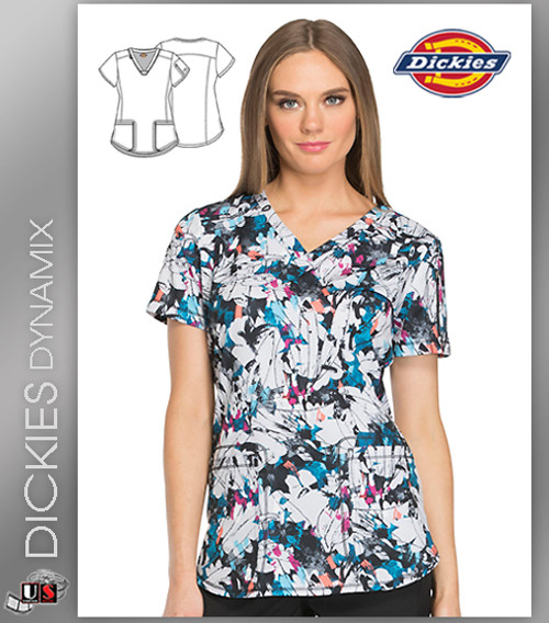 Dickies Dynamix Abstract Print Women's  V-Neck Top