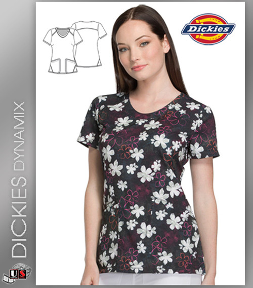 Dickies Dynamix Floral Print Womens V-Neck Top