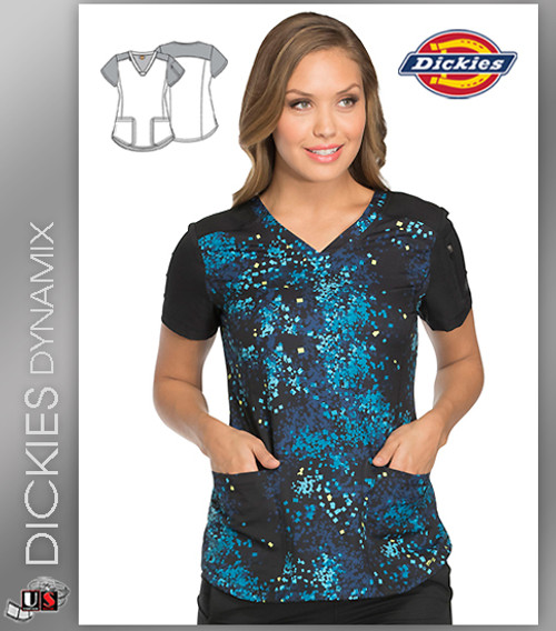 Dickies Dynamix Abstract Print Womens V-Neck Top