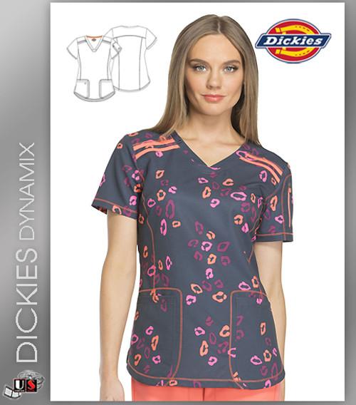 Dickies Dynamix Wild Run Print Womens V-Neck Top