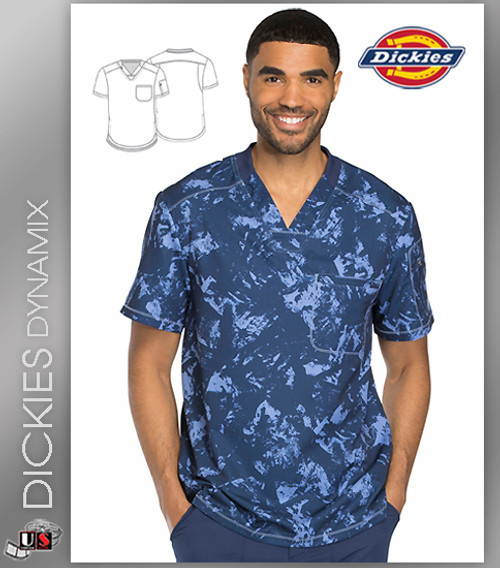Dickies Dynamix Distress Navy Print Men's V-Neck Top