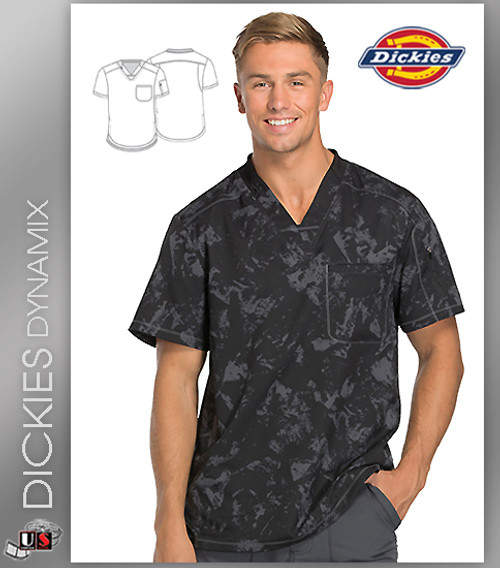 Dickies Dynamix Distress Black Print Men's V-Neck Top