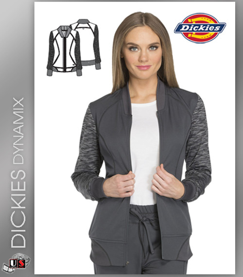 Dickies Dynamix Women's Zip Front Warm-Up Jacket Pewter