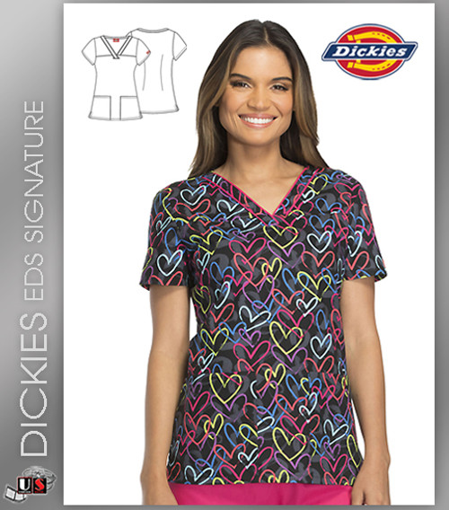 Dickies EDS Street Heart Prints V-Neck Top