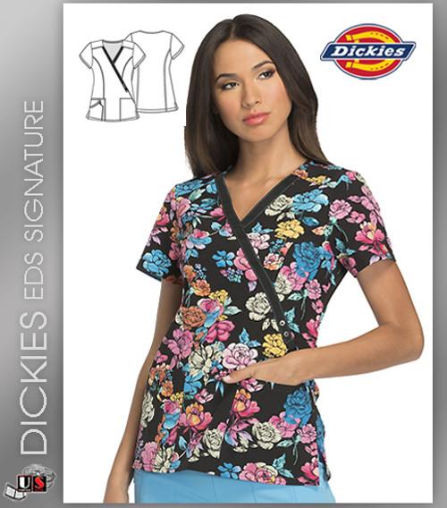 Dickies EDS Lace Bouquet Prints Mock Wrap Top