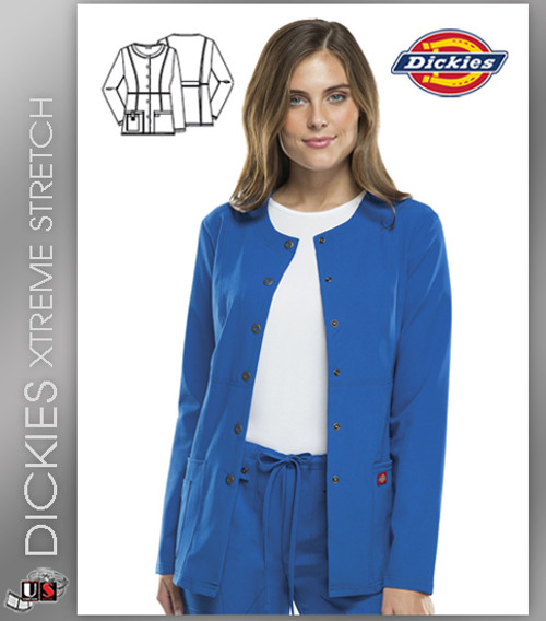 Dickies Xtreme Stretch Crew Neck Snap Front Warm-Up Jacket