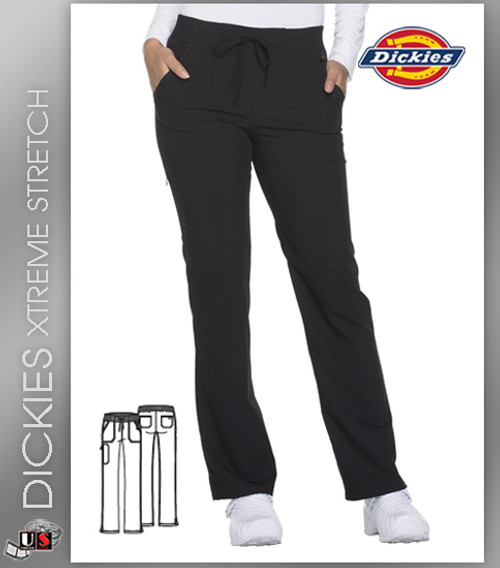 Dickies Xtreme Stretch Mid Rise Straight Leg Drawstring Pant