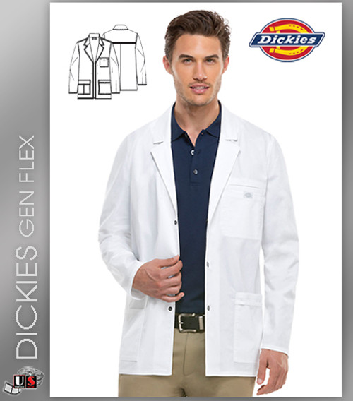 "Dickies Gen Flex Scrubs 31"" Men's Snap Front Lab Coat"