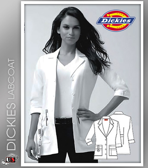 "Dickies 30"" Women's Junior Fit Notch Collar Lab Coat"