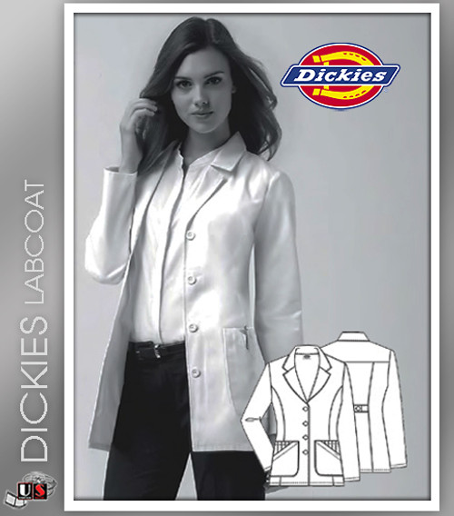 """Dickies 28"""" Women's Missy Fit Fashion Notched Collar Lab Coat"""