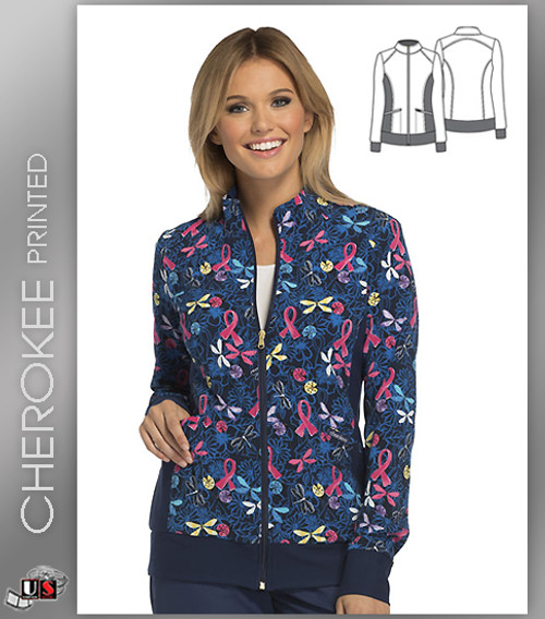 Cherokee Printed Flying For A Cure Women's Warm Up Jacket