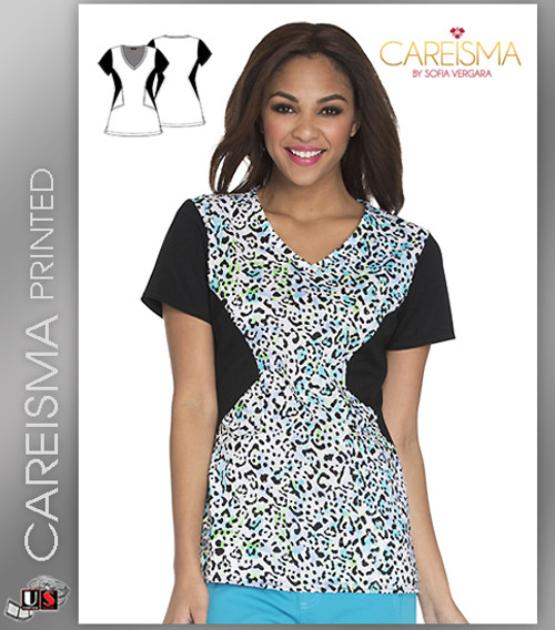 Careisma Printed Feeling A Little Wild Women's V-Neck Short Sleeve Top